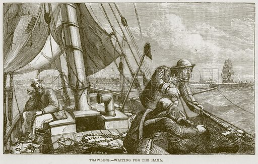 Trawling. – Waiting for the Haul. Illustration from The Boy's Own Volume (Beeton, c 1860).
