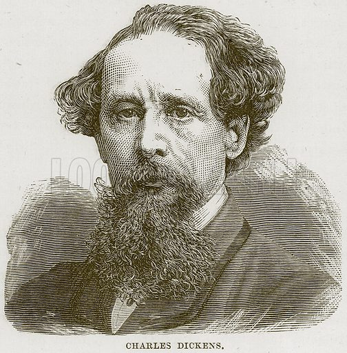 Charles Dickens. Illustration from Our Own Country (Cassell, c 1870).