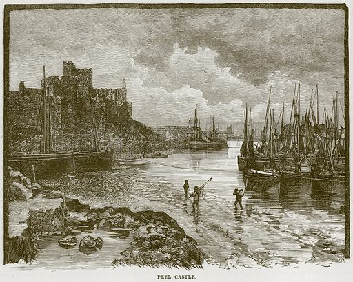 Peel Castle. Illustration from Our Own Country (Cassell, c 1870).