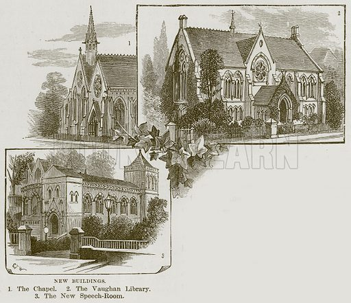 New Buildings. 1. The Chapel. 2. The Vaughan Library. 3. The New Speech-Room. Illustration from Our Own Country (Cassell, c 1870).