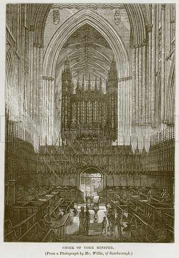 Choir of York Minster. Illustration from Our Own Country (Cassell, c 1870).