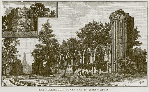 The Multangular Tower and St Mary's Abbey. Illustration from Our Own Country (Cassell, c 1870).