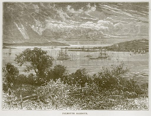 Falmouth Harbour. Illustration from Our Own Country (Cassell, c 1870).