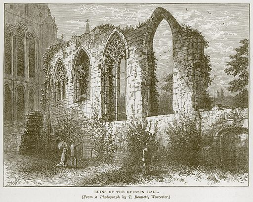 Ruins of the Guesten Hall. Illustration from Our Own Country (Cassell, c 1870).