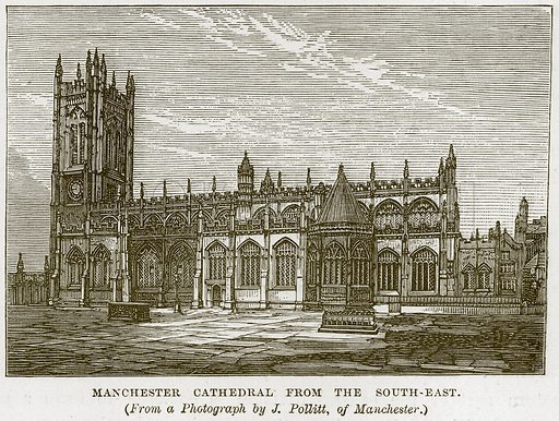 Manchester Cathedral from the South-East. Illustration from Our Own Country (Cassell, c 1870).