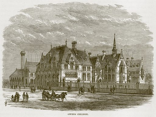 Owens College. Illustration from Our Own Country (Cassell, c 1870).