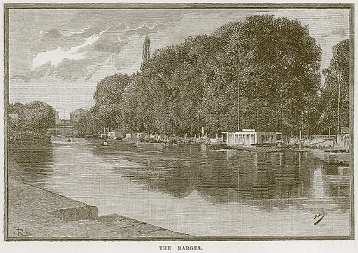 The Barges. Illustration from Our Own Country (Cassell, c 1870).