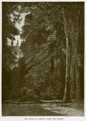 The Tower of Merton, from the Garden. Illustration from Our Own Country (Cassell, c 1870).