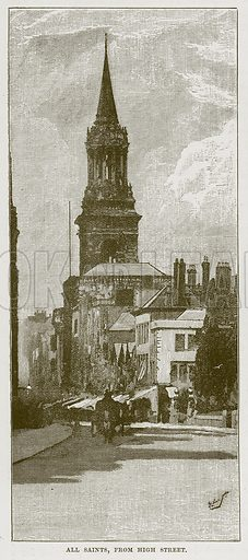 All Saints, from High Street. Illustration from Our Own Country (Cassell, c 1870).