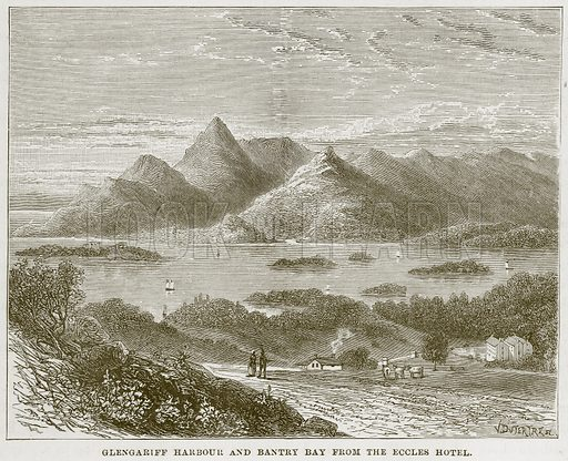 Glengariff Harbour and Bantry Bay from the Eccles Hotel. Illustration from Our Own Country (Cassell, c 1870).
