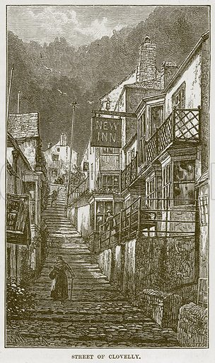 Street of Clovelly. Illustration from Our Own Country (Cassell, c 1870).