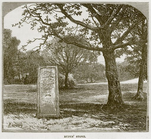 Rufus' Stone. Illustration from Our Own Country (Cassell, c 1870).