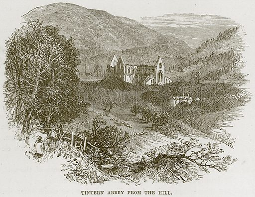 Tintern Abbey from the Hill. Illustration from Our Own Country (Cassell, c 1870).