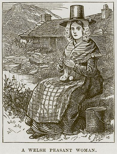 A Welsh Peasant Woman. Illustration from Our Own Country (Cassell, c 1870).