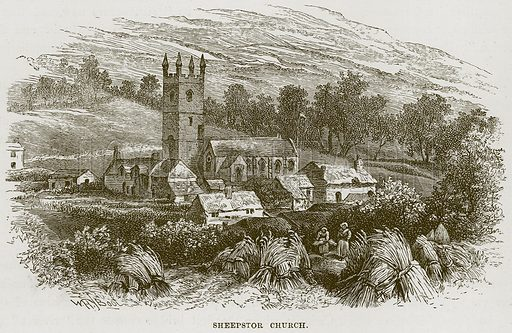 Sheepstor Church. Illustration from Our Own Country (Cassell, c 1870).
