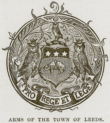 Arms of the Town of Leeds. Illustration from Our Own Country (Cassell, c 1870).