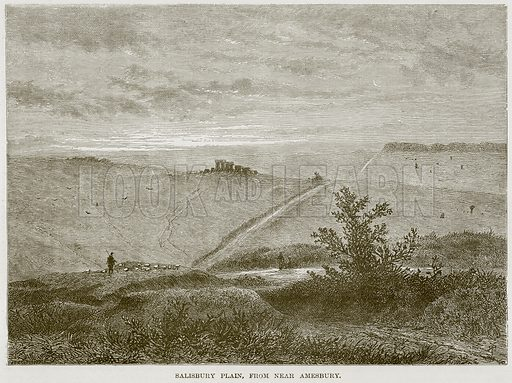 Salisbury Plain, from near Amesbury. Illustration from Our Own Country (Cassell, c 1870).