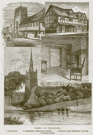 Views in Stratford. 1. Free School. 2. Shakespeare's Birth-Place (Restored). 3. Room in which Shakespeare was Born. 4. Stratford Church. Illustration from Our Own Country (Cassell, c 1870).