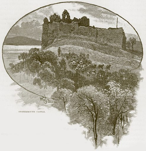 Oystermouth Castle. Illustration from Our Own Country (Cassell, c 1870).