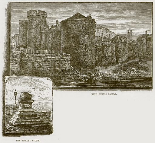 King John's Castle. The Treaty Stone. Illustration from Our Own Country (Cassell, c 1870).