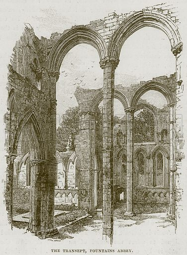 The Transept, Fountains Abbey. Illustration from Our Own Country (Cassell, c 1870).
