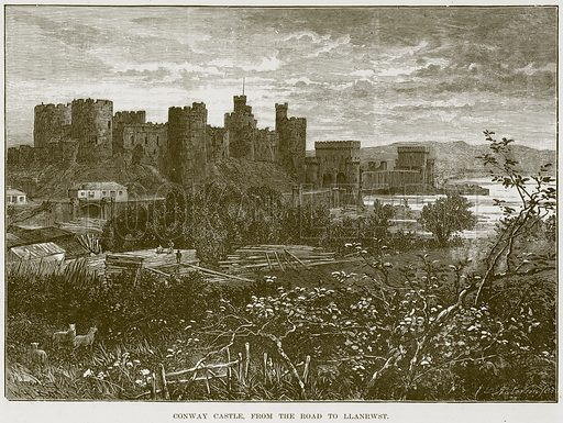 Conway Castle, from the Road to Llanrwst. Illustration from Our Own Country (Cassell, c 1870).