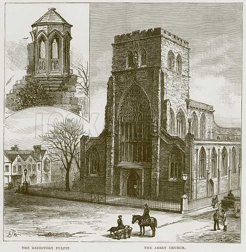 The Refectory Pulpit. The Abbey Church. Illustration from Our Own Country (Cassell, c 1870).