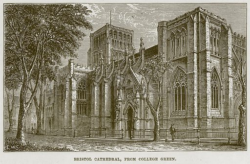 Bristol Cathedral, from College Green. Illustration from Our Own Country (Cassell, c 1870).