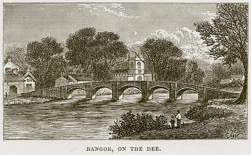 Bangor, on the Dee. Illustration from Our Own Country (Cassell, c 1870).