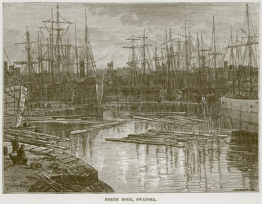 North Dock, Swansea. Illustration from Our Own Country (Cassell, c 1870).