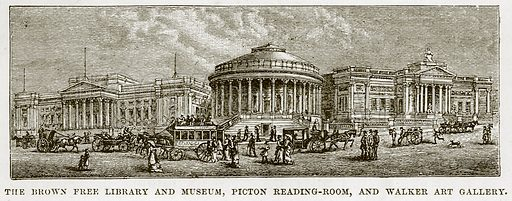 The Brown Free Library and Museum, Picton Reading-Room, Walker Art Gallery. Illustration from Our Own Country (Cassell, c 1870).