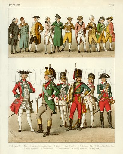 French Costume 1700. Illustration from The Costumes of All Nations by Albert Kretschmer and Carl Rohrbach (Sotheran, 1882).