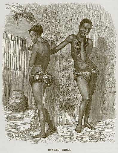 Ovambo Girls. Illustration for The Natural History of Man by JG Wood (George Routledge, 1868).