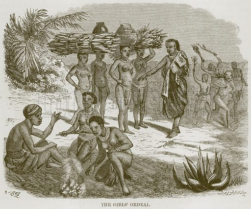 The Girls' Ordeal. Illustration for The Natural History of Man by JG Wood (George Routledge, 1868).