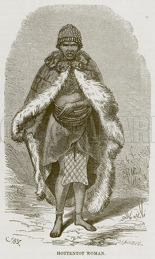 Hottentot Woman. Illustration for The Natural History of Man by JG Wood (George Routledge, 1868).
