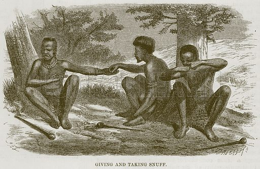 Giving and taking Snuff. Illustration for The Natural History of Man by JG Wood (George Routledge, 1868).