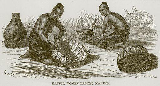 Kaffir Women Basket making. Illustration for The Natural History of Man by JG Wood (George Routledge, 1868).