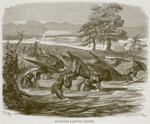 Soldiers Lapping Water. Illustration for The Natural History of Man by JG Wood (George Routledge, 1868).