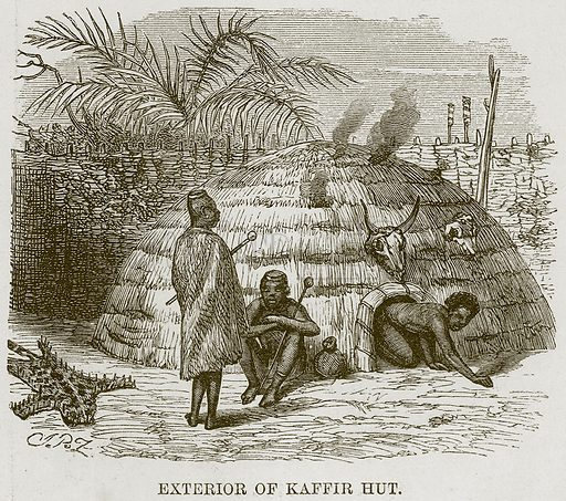 Exterior of Kaffir Hut. Illustration for The Natural History of Man by JG Wood (George Routledge, 1868).