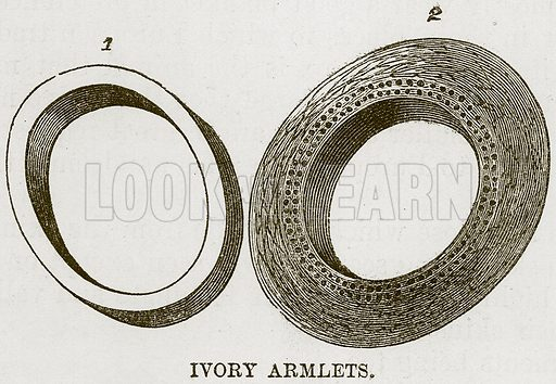 Ivory Armlets. Illustration for The Natural History of Man by JG Wood (George Routledge, 1868).