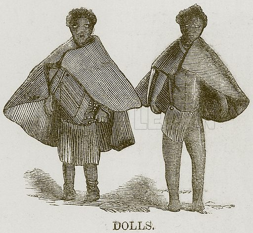 Dolls. Illustration for The Natural History of Man by JG Wood (George Routledge, 1868).