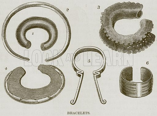 Bracelets. Illustration for The Natural History of Man by JG Wood (George Routledge, 1868).