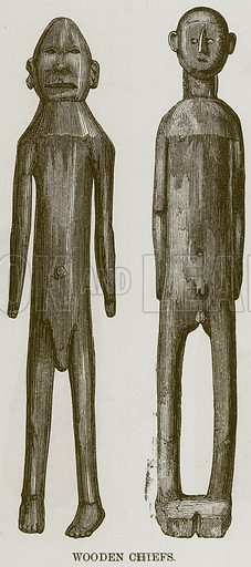 Wooden Chiefs. Illustration for The Natural History of Man by JG Wood (George Routledge, 1868).