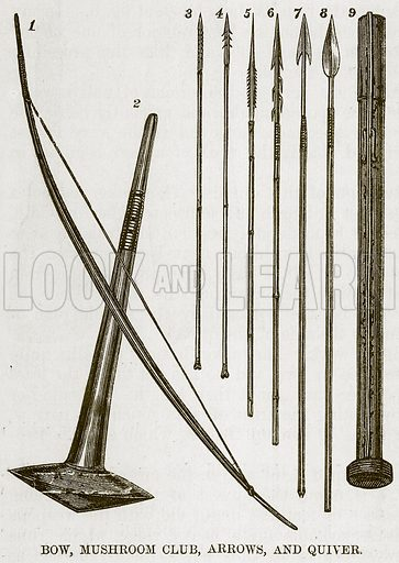 Bow, Mushroom Club, Arrows, and Quiver. Illustration for The Natural History of Man by JG Wood (George Routledge, 1868).