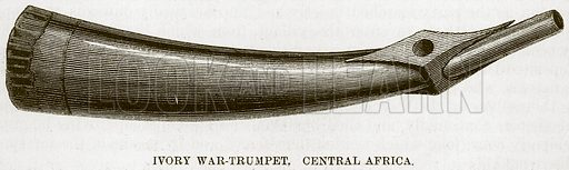 Ivory War-Trumpet, Central Africa. Illustration for The Natural History of Man by JG Wood (George Routledge, 1868).