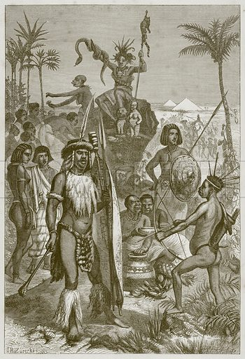 African Natives. Illustration for The Natural History of Man by JG Wood (George Routledge, 1868).