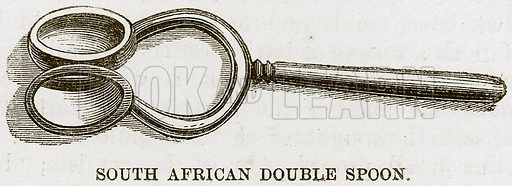South African Double Spoon. Illustration for The Natural History of Man by JG Wood (George Routledge, 1868).