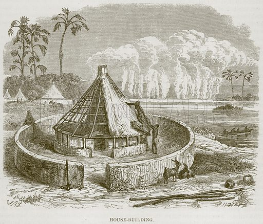 House-Building. Illustration for The Natural History of Man by JG Wood (George Routledge, 1868).