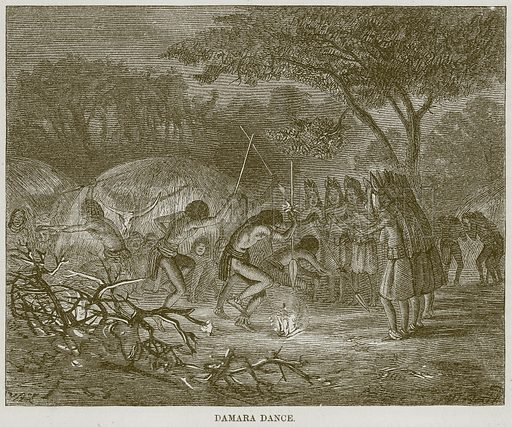 Damara Dance. Illustration for The Natural History of Man by JG Wood (George Routledge, 1868).