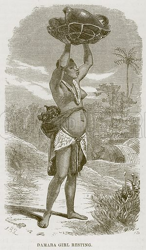 Damara Girl Resting. Illustration for The Natural History of Man by JG Wood (George Routledge, 1868).